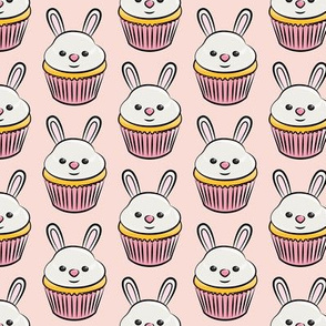 bunny cupcakes - easter spring sweets - pink LAD19