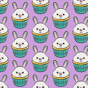 bunny cupcakes - easter spring sweets - purple  LAD19