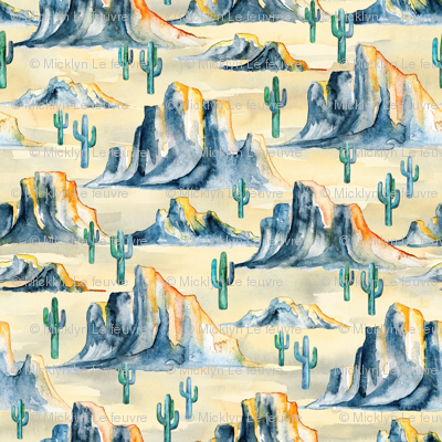 Sunset Desert Mountains with Cacti in Watercolor - extra small