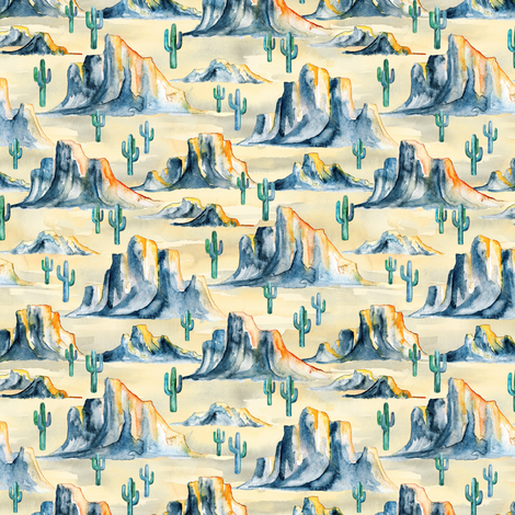 Sunset Desert Mountains with Cacti in Watercolor - extra small fabric by micklyn on Spoonflower - custom fabric