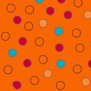 Mod Orange, Blue Polka Dots