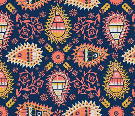 Coral paisley fabric by akwaflorell on Spoonflower - custom fabric