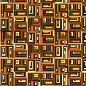 Brown, yellow, red, orange abstract plaid