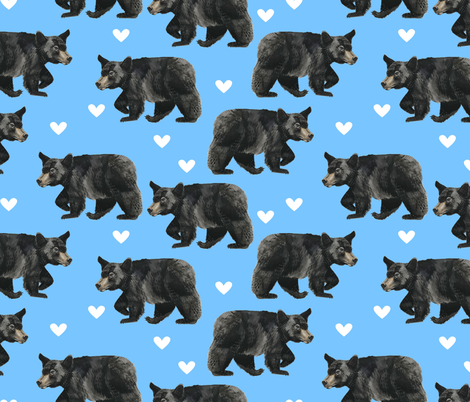 Black Bears with Hearts on Blue fabric by taraput on Spoonflower - custom fabric