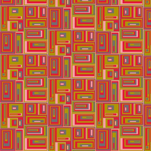 Green, red , gray, pink abstract geometric plaid
