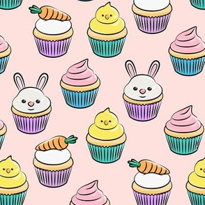 Easter cupcakes - bunny chicks carrots spring sweets - pink LAD19