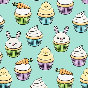 Easter cupcakes - bunny chicks carrots spring sweets - aqua LAD19