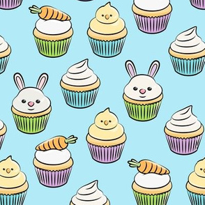 Easter cupcakes - bunny chicks carrots spring sweets - blue LAD19