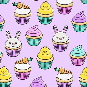 Easter cupcakes - bunny chicks carrots spring sweets - purple LAD19
