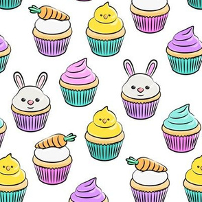 Easter cupcakes - bunny chicks carrots spring sweets - white LAD19
