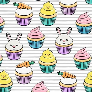 Easter cupcakes - bunny chicks carrots spring sweets - grey stripes  LAD19