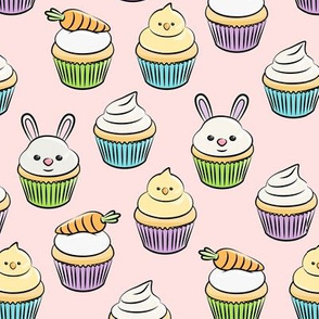 Easter cupcakes - bunny chicks carrots spring sweets - pastels with pink LAD19