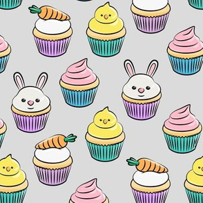 Easter cupcakes - bunny chicks carrots spring sweets - grey  LAD19