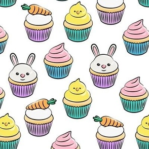 Easter cupcakes - bunny chicks carrots spring sweets - white with pink LAD19