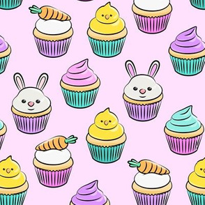 Easter cupcakes - bunny chicks carrots spring sweets - brights pink LAD19