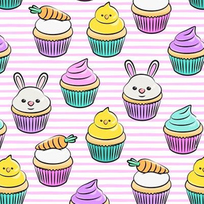 Easter cupcakes - bunny chicks carrots spring sweets - pink stripes LAD19