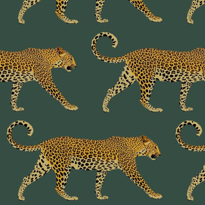 Leopards in deep teal (large)