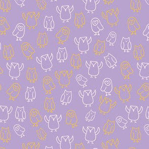 colorful owls purple and yellow  seamless repeat pattern.