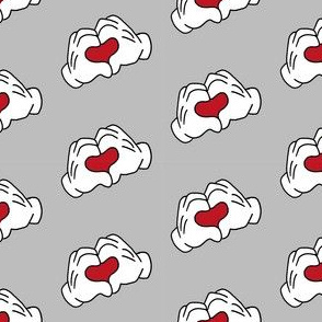 heart hands i love you fabric - love fabric - grey