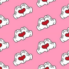 heart hands i love you fabric - love fabric -  pink