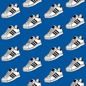 retro sneakers - sneaker fabric, shoes fabric, shoe fabric -  blue