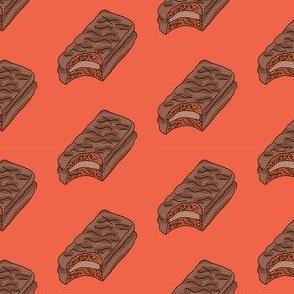 tim tam fabric, tim tams - chocolate bar snack, food fabric, australian fabric - orange