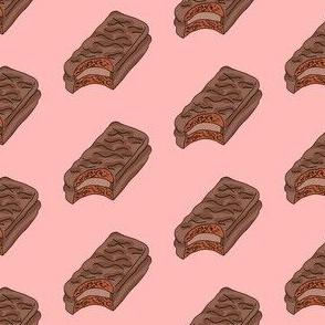 tim tam fabric, tim tams - chocolate bar snack, food fabric, australian fabric -  pink