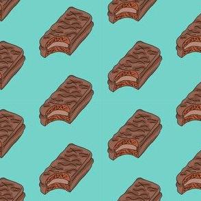 tim tam fabric, tim tams - chocolate bar snack, food fabric, australian fabric -  blue