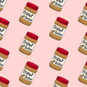 peanut butter fabric - peanut butter jar, food fabric - pink