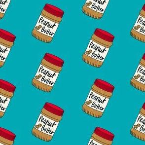 peanut butter fabric - peanut butter jar, food fabric -  blue