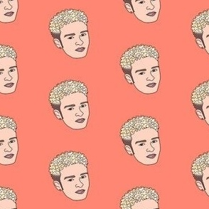 jt fabric - justin timberlake, 90s era, 90s justin, bleach blond, -  coral