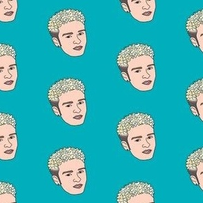 jt fabric - justin timberlake, 90s era, 90s justin, bleach blond, -  teal