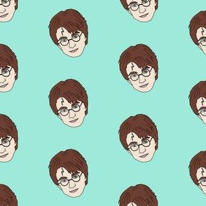 boy wizard fabric - glasses boy fabric - mint