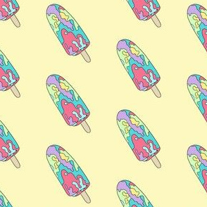 paddle pop fabric - paddle pop, popsicle, summer, ice cream, colorful, australian food - yellow