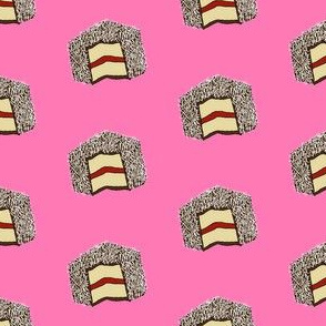 lamingtons fabric - lamington fabric, raspberry lamington, cake fabric food fabric, australian fabric -  pink