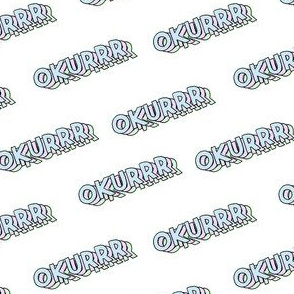 okurrr - cardi b catchphrase, 90s pastel sticker look, stickers fabric, okurr - white
