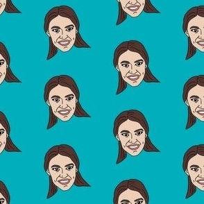 aoc - alexandria ocasio-cortez, democrat, politican, congresswoman, american, usa -  turquoise