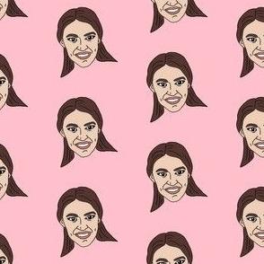 aoc - alexandria ocasio-cortez, democrat, politican, congresswoman, american, usa -  pink
