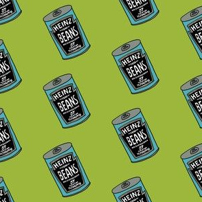 baked beans fabric - beans fabric, british food fabric, brit, english - baked beans, tin, - lime