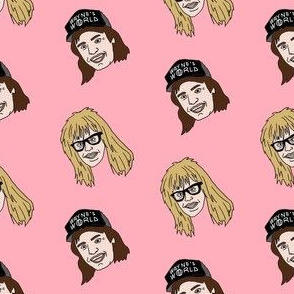 wayne and garth fabric, 90s movies fabric, 80s movies fabric, metal rock band, - comedy -  pink