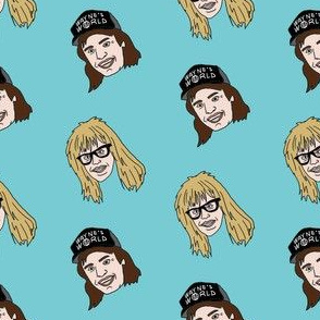 wayne and garth fabric, 90s movies fabric, 80s movies fabric, metal rock band, - comedy -  blue