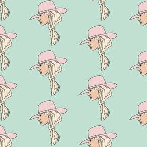 joanne - lady gaga, gaga fabric, pink fabric, girls fabric, musican, female, feminist icon fabric -  mint