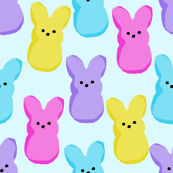 peeps fabric - bunny, easter bunny, easter, easter candy fabric, pastel fabric - blue