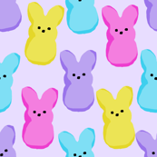 peeps fabric - bunny, easter bunny, easter, easter candy fabric, pastel fabric - purple