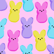 peeps fabric - bunny, easter bunny, easter, easter candy fabric, pastel fabric - pink