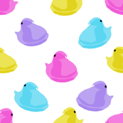 peeps fabric - chick, chicks, easter, easter candy fabric, pastel fabric - white
