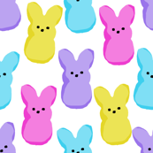 peeps fabric - bunny, easter bunny, easter, easter candy fabric, pastel fabric - white