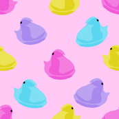 peeps fabric - chick, chicks, easter, easter candy fabric, pastel fabric - pink