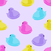peeps fabric - chick, chicks, easter, easter candy fabric, pastel fabric - purple