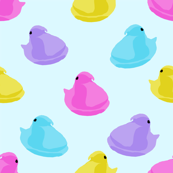 peeps fabric - chick, chicks, easter, easter candy fabric, pastel fabric - blue